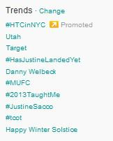 Sacco was trending, at least in the U.S.