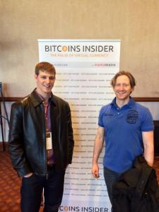 Brandon Gordon, a KnC Miner customer, with Alexander Lawn, of KnC Miner