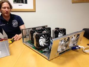 Alexander Lawn, of KnC Miner, let us take a look inside one of his company's Bitcoin mining machines