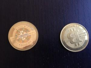 Coinbase has three real Bitcoins sitting on a conference table, imprinted with their online code, worth almost $400 at the time of my visit
