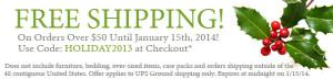 Ultimate Green Store discount code is Holiday2013