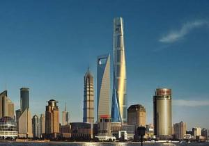 Artists rendition of Shanghai Tower seen dwarfing China's biggest building Shanghai Financial.
