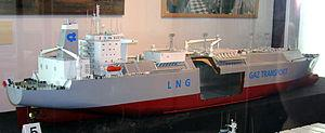 English: Model of an LNG carrier, built 1994, ...