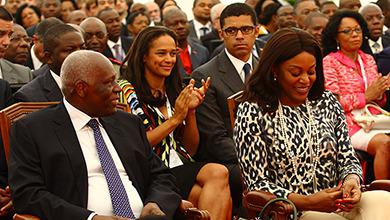 Angola's ruling family (from left): Jose Eduardo dos Santos, daughter Isabel, her husband Sindika... [+] Dokolo, and first lady Ana Paula dos Santos (Photo credit: Bruno Fonseca/ 4See / Redux)