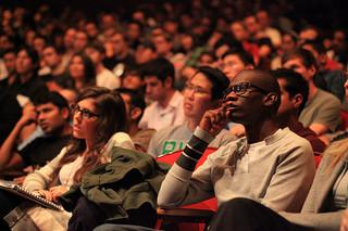Audience listens at Startup School