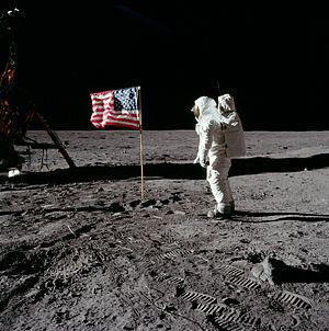 Buzz Aldrin salutes the U.S. flag on Mare Tran...