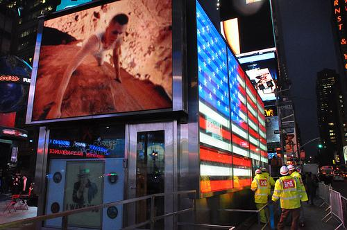 Times Square Panel Installation in Advance of ...