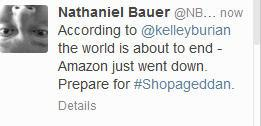 One of many tweets about Amazon outage