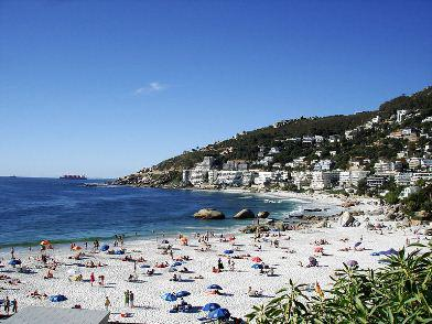 A string of quaint beach and surfing towns runs up the coast from Cape Town. This is Fourth Beach in Clifton. Photo: Wikipedia