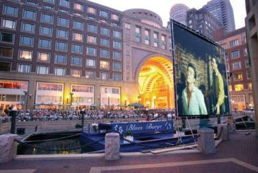 In summertime, the hotel's marina turns into Boston's most happening open air movie theater.