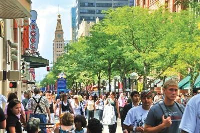 The 16th Street Pedestrian Mall is the heart of Denver's massively revived downtown. Photo: Steve... [+] Crecelius
