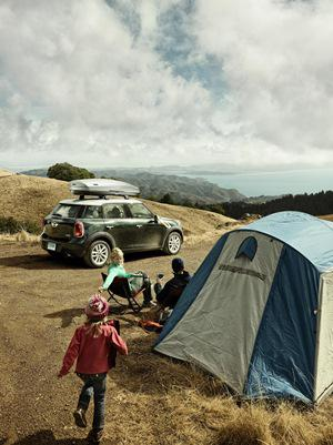 Family camping trip with a MiniCooper? Why not? They get around 35MPG highway.