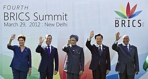 Heads of the BRICS countries (L to R) Presiden...