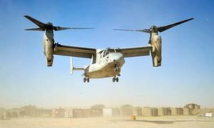 A V-22 Osprey helicopter operated by the Unite...