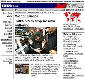The original BBC News website design, 1999