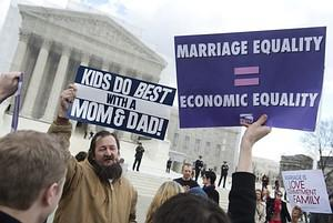 Same-sex marriage supporters talk with same-se...