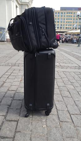 This is a Tumi Tegra-Lite four-wheel case with my computer bag attached. it is unstable and will not... [+] tolerate any flucuations under the wheels. if often toppled while rolling on rough sidewalks or streets.