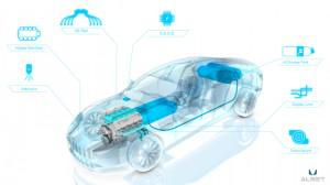 This rendering shows the four carbon-fiber hydrogen fuel tanks in blue. (Credit: Aston Martin)