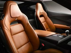 These are the standard GT seats on the 2014 Chevrolet Corvette Stingray. There is also an optional Competition seat geared for track driving that has more aggressive side bolsters and provisions for a four-point harness. (Credit: Chevrolet)