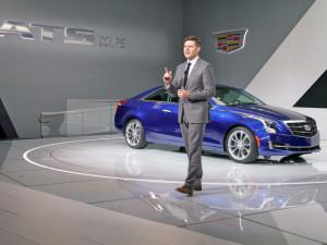 Andrew Smith, Cadillac's executive director of design, presenting the new ATS Coupe at the Detroit auto show. (Credit: Cadillac)