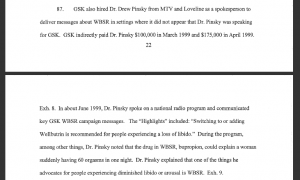 The section of the government's complaint that details Glaxo's relationship with Dr. Drew