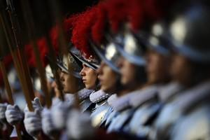 Swiss guards stand during a ceremony on May 6,...