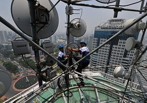 Technicians of Indonesia telecommunication com...