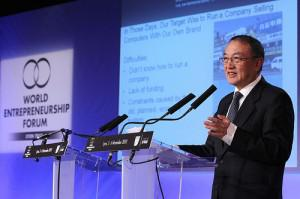 Lenovo Founder Liu Chuanzhi, an icon among Chinese entrepreneurs, addresses the World... [+] Entrepreneurship Forum