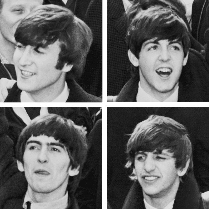 English: Photograph of The Beatles as they arr...