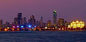 English: Skyline of Mumbai from across Back Bay.