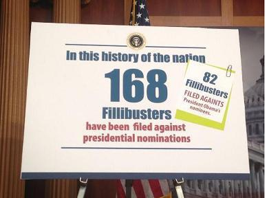 Sign used by Senate Democrats at November 21, 2013, press conference on the ″nuclear option.″ Photo Credit: Brett Baier's Facebook page.