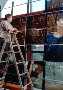 Nigel Brown at Glassworks Studio with Holy Trinity Cathedral, Mid-1990s. Photo by Nazem Choufeh