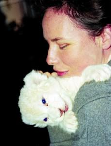 Linda Tucker with baby Marah. Photo Courtesy of Global White Lion Protection Trust (WTL)