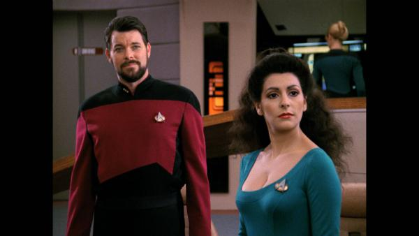 Jonathan Frakes as Commander Riker with Marina Sirtis as Counselor Troi. Photo courtesy of CBS Home... [+] Entertainment