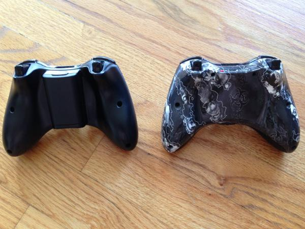 Bottom view of Xbox controller and Evil Vision Backplate. Photo: Michael Venables for Forbes