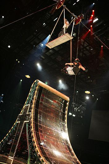 Aerialist performing in rehearsal. Photo courtesy of Cirque du Soleil