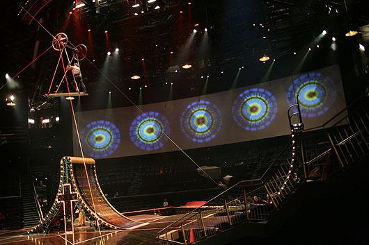 Aerialists practicing in dress rehearsal. Photo courtesy of Cirque du Soleil