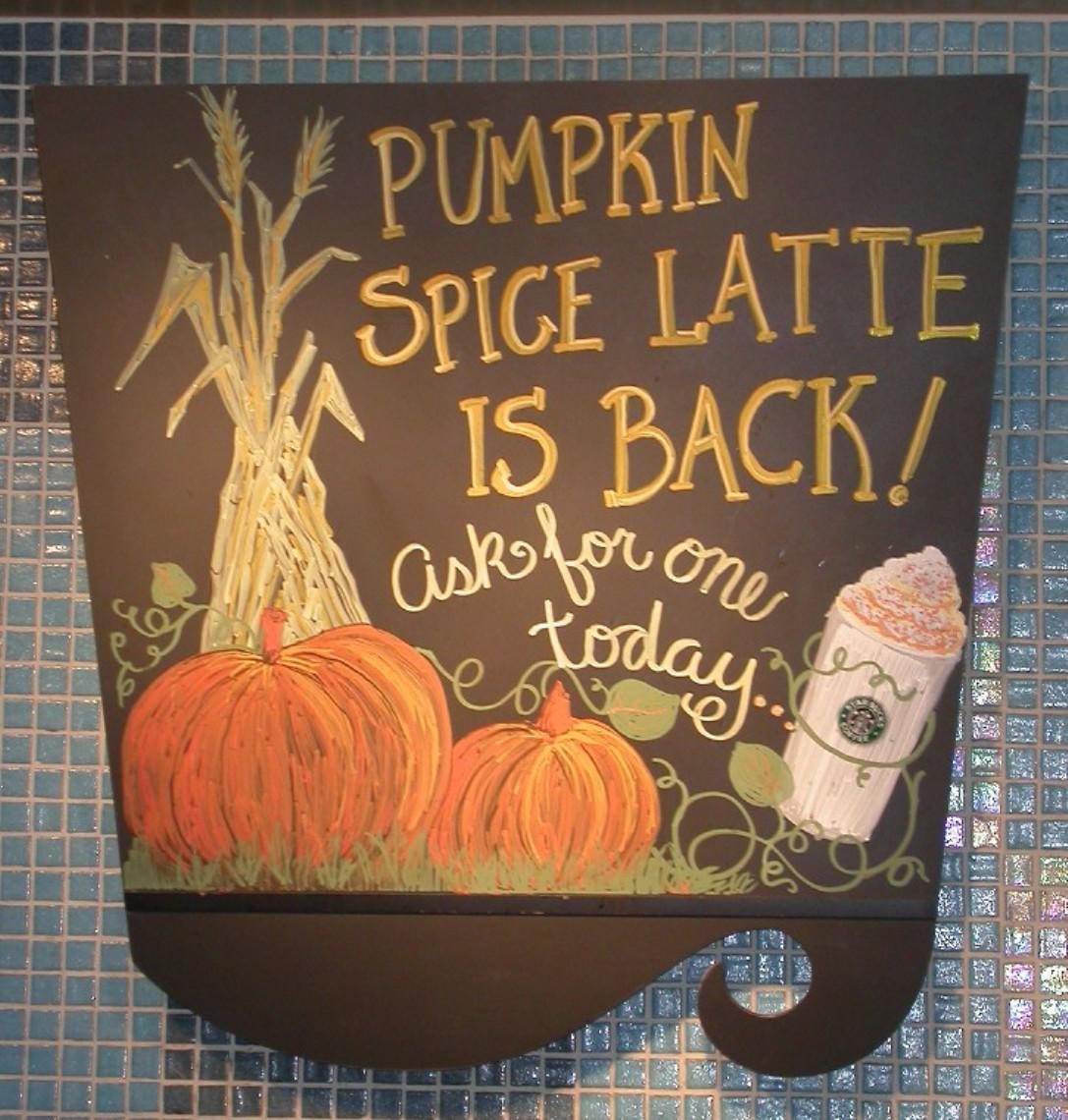 Image result for starbucks pumpkin spice latte signs