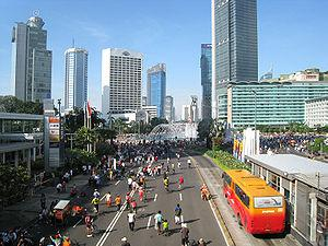 English: Jakarta during monthly Car Free Day, ...