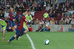 Messi shortly before scoring a goal against Getafe