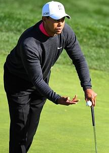 US golfer Tiger Woods tosses the ball on the g...