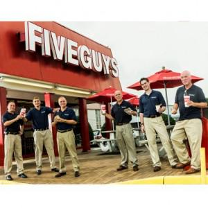The Five Guys and Dad: Matt, Tyler, Jim, Chad, Ben and Jerry Murrell. Credit: Stephen Voss for... [+] Forbes.