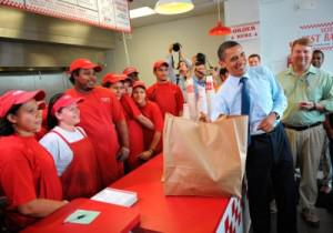 President Obama at a Five Guys in 2009. Credit: MANDEL NGAN / AFP / Getty Images