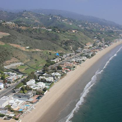 Aerial view of Carbon Beach in Malibu, Calif. (Credit: M16films.com for Forbes)