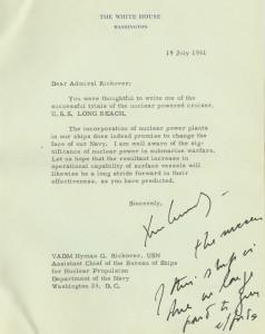 President John Kennedy writes a senior Admiral about the fleet of nuclear submarines in 1961