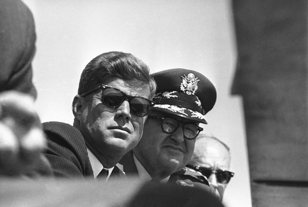 President John F. Kennedy watches a practice alert of Strategic Air Command B52 bombers at Eglin Air... [+] Force Base in Florida on May 4, 1962. (AP Photo)