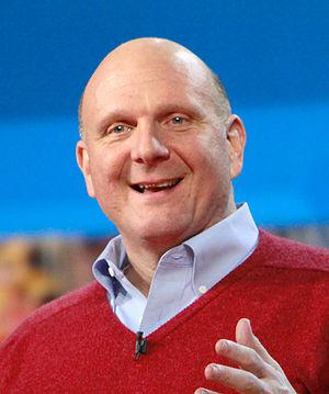 Microsoft CEO, Steve Ballmer, presents his pre...