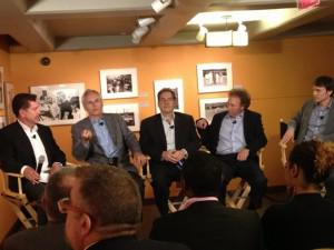 Panelists at the Forbes Forum are (left to right): Rich Karlgaard, Forbes publisher; Tom O'Toole, senior vice president, marketing & loyalty, United Airlines and president, Mileage Plus; Gene Zaino, CEO of MBO Partners; Dave Hilfman, United senior vice president of sales; and Georg Petschnigg, CEO of Fiftythree.