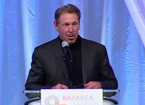 Larry Ellison spoke about his friendship with Steve Jobs at the Bay Area Council's Business Hall of Fame induction ceremony on Nov. 7.