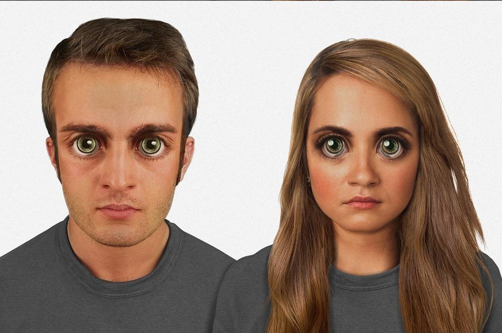"In 100,000 years: The human face is proportioned to the 'golden ratio,' though it features... [+] unnervingly large eyes. There is green ""eye shine"" from the tapetum lucidum, and a more pronounced superciliary arch. A sideways blink of the reintroduced plica semilunaris seen in the light gray areas of the eyes, while miniature bone-conduction devices implanted above the ear work with the communications lenses on the eyes. Image credit: Nickolay Lamm"